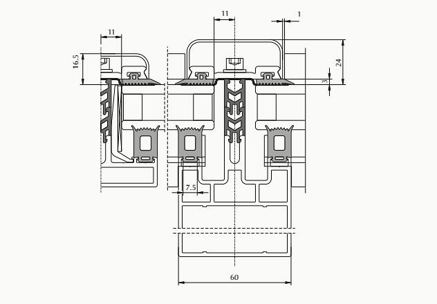 AGS 150 вторая группа - классические фасады с шириной стоек и ригелей 60 мм