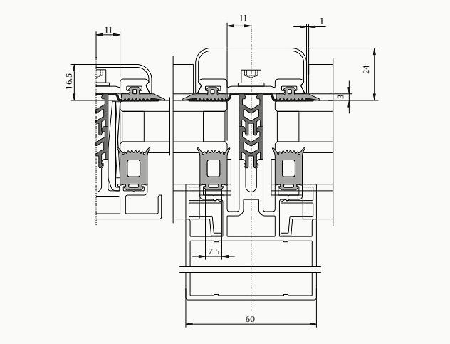 классические фасады с шириной стоек и ригелей 60 мм c дополнительным лотком для конденсатоотвода