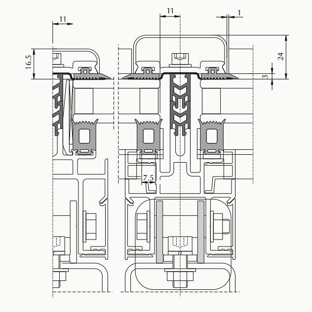 фасады с креплением на несущую подсистему, ширина стоек и ригелей 60 мм c дополнительным лотком для конденсатоотвода